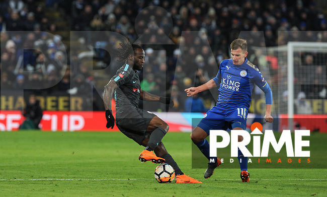 Victor Moses of Chelsea & Marc Albrighton of Leicester City  during the FA Cup QF match between Leicester City and Chelsea at the King Power Stadium, Leicester, England on 18 March 2018. Photo by Stephen Buckley / PRiME Media Images.
