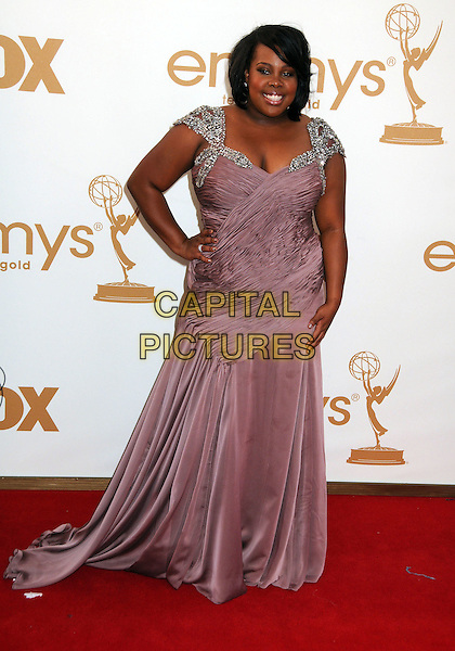 Amber Riley.63rd Primetime Emmy Awards held at Nokia Theatre L.A. Live. Los Angeles, California, USA. .18th September 2011.emmys full length purple lavender dress silver beads beaded hand on hip.CAP/ADM/BP.©Byron Purvis/AdMedia/Capital Pictures.