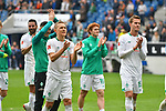 11.05.2019, PreZero Dual Arena, Sinsheim, GER, 1. FBL, TSG 1899 Hoffenheim vs. SV Werder Bremen, <br /> <br /> DFL REGULATIONS PROHIBIT ANY USE OF PHOTOGRAPHS AS IMAGE SEQUENCES AND/OR QUASI-VIDEO.<br /> <br /> im Bild: Ludwig Augustinsson (SV Werder Bremen #5), Josh Sargent (SV Werder Bremen #19), Sebastian Langkamp (SV Werder Bremen #15) bedanken sich bei den Fans<br /> <br /> Foto &copy; nordphoto / Fabisch