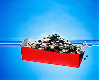 BUOYANCY: BOAT FILLED WITH BEANS (4 of 5)<br /> When the weight of the boat surpasses the buoyant force the boat sinks.