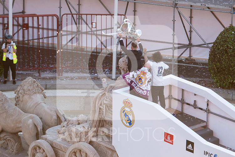 Real Madrid Sergio Ramos and Marcelo during the celebration of the 13th UEFA Championship in Madrid, June 04, 2017. Spain.<br /> (ALTERPHOTOS/BorjaB.Hojas)