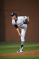 Stetson Hatters relief pitcher Walker Sheller (13) follows through on a pitch during a game against the Siena Saints on February 23, 2016 at Melching Field at Conrad Park in DeLand, Florida.  Stetson defeated Siena 5-3.  (Mike Janes/Four Seam Images)
