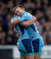 Exeter Chiefs' Joe Simmonds celebrates scoring his sides first try with Exeter Chiefs' Jack Maunder<br /> <br /> Photographer Bob Bradford/CameraSport<br /> <br /> Premiership Rugby Cup - Exeter Chiefs v Harlequins - Saturday 10th November 2018 - Sandy Park - Exeter<br /> <br /> World Copyright &copy; 2018 CameraSport. All rights reserved. 43 Linden Ave. Countesthorpe. Leicester. England. LE8 5PG - Tel: +44 (0) 116 277 4147 - admin@camerasport.com - www.camerasport.com