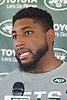 Devon Still #62 of the New York Jets speaks with the media after a day of training camp at the Atlantic Health Jets Training Center in Florham Park, NJ on Friday, Aug. 4, 2017.