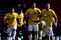 Swansea City players warm up before the Barclays Premier League match between AFC Bournemouth and Swansea City played at The Vitality Stadium, Bournemouth on March 11th 2016