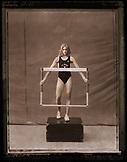 USA, California, USC woman hurdeler, Los Angeles (B&W)