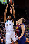 Turkish Airlines Euroleague 2017/2018.<br /> Regular Season - Round 23.<br /> FC Barcelona Lassa vs R. Madrid: 74-101.<br /> Anthony Randolph vs Victor Claver.