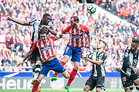 Atletico de Madrid Sime Vrsaljko and Diego Godin and Levante Jefferson Lerma during La Liga match between Atletico de Madrid at Wanda Metropolitano in Madrid, Spain. April 15, 2018. (ALTERPHOTOS/Borja B.Hojas) /NortePhoto.com NORTEPHOTOMEXICO