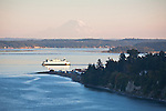 Puget Sound, Port Townsend, Mount Rainier, Port Townsend ferry, Point Hudson Marina, sunset, Olympic Peninsula, Washington State, Pacific Northwest, USA,