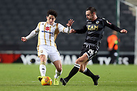 Michael Rose of Macclesfield Town and Alex Gilbey of MK Dons during MK Dons vs Macclesfield Town, Sky Bet EFL League 2 Football at stadium:mk on 17th November 2018