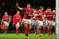 Wales Elliot Dee waves at the fans at full time during the International friendly match between Wales and Barbarians at the Principality Stadium in Cardiff, Wales, UK. Saturday 30 November 2019.