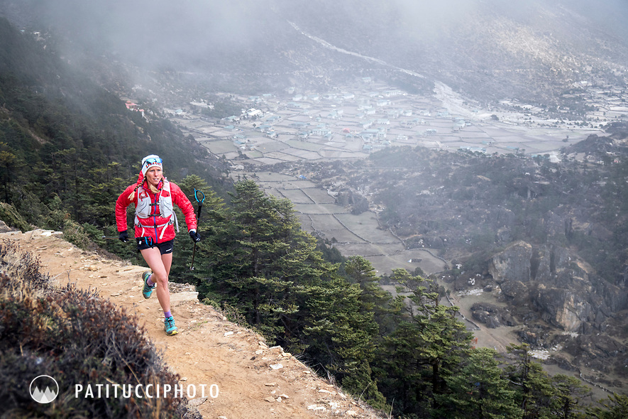 Trail running above Kunde and Khumjung, in Nepal's Khumbu Region