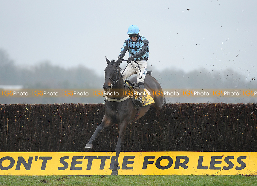 Menorah ridden by Richard Johnson takes the last in the Betfair Denman Chase Grade 2 Cl1 - Horse Racing at Newbury Racecourse, Newbury, Berkshire - 09/02/2013 - MANDATORY CREDIT: Martin Dalton/TGSPHOTO - Self billing applies where appropriate - 0845 094 6026 - contact@tgsphoto.co.uk - NO UNPAID USE.