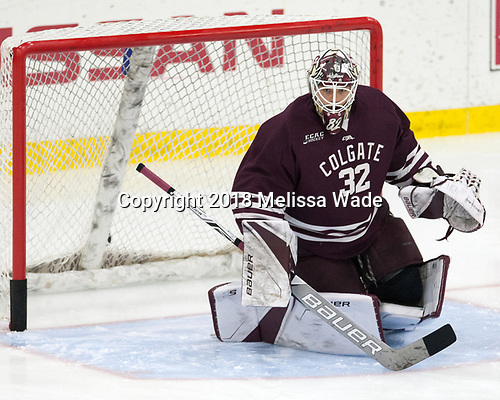 Colton Point (Colgate - 32) - The visiting Colgate University Raiders shut out the Harvard University Crimson for a 2-0 win on Saturday, January 27, 2018, at Bright-Landry Hockey Center in Boston, Massachusetts.