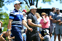 Rory McIlroy (NIR) and Brooks Koepka (USA) during the first round of  The Northern Trust, Liberty National Golf Club, Jersey City, New Jersey, USA. 08/08/2019.<br /> Picture Michael Cohen / Golffile.ie<br /> <br /> All photo usage must carry mandatory copyright credit (© Golffile | Michael Cohen)