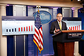 White House Council of Economic Advisers Chair Kevin Hassett presents an update on the economy to reporters gathered for the daily press briefing at the White House, in Washington, D.C., 6-5-18.White House Council of Economic Advisers Chair Kevin Hassett presents an update on the economy to reporters gathered for the daily press briefing at the White House, in Washington, D.C., on June 5, 2018.<br /> Credit: Martin H. Simon / CNP
