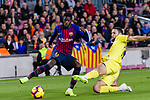 Ousmane Dembele of FC Barcelona (L) is challenged by Alfonso Pedraza of Villarreal (R) during the La Liga 2018-19 match between FC Barcelona and Villarreal at Camp Nou on 02 December 2018 in Barcelona, Spain. Photo by Vicens Gimenez / Power Sport Images