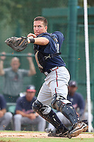 GCL Braves catcher Troy Snitker #2 throws to first after fielding a bunt during a game against the GCL Pirates at Disney Wide World of Sports on June 25, 2011 in Kissimmee, Florida.  The Pirates defeated the Braves 5-4 in ten innings.  (Mike Janes/Four Seam Images)