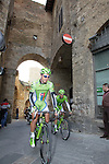 Cannondale team riders including Peter Sagan (SVK) head to sign on in San Gimignano before the start of the 2014 Strade Bianche race over the white dusty gravel roads of Tuscany, Italy. 8th March 2014.<br /> Picture: Eoin Clarke www.newsfile.ie