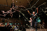 Reagan and Tiffany spray silly string on the crowd of dancers during their talent show performance at DanceBlue on March 3, 2012 in Memorial Coliseum.