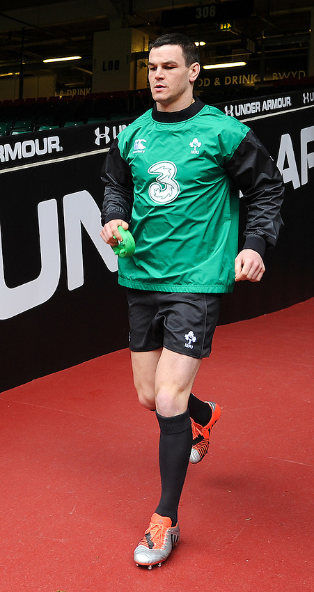 Ireland's Johnny Sexton arriving at Irelands training session ahed of the Wales game<br /> <br /> Photographer Craig Thomas/CameraSport<br /> <br /> International Rugby Union - 2015 RBS 6 Nations Championship - Ireland Training Session - Friday 13th March 2015 - Millennium Stadium - Cardiff<br /> <br /> &copy; CameraSport - 43 Linden Ave. Countesthorpe. Leicester. England. LE8 5PG - Tel: +44 (0) 116 277 4147 - admin@camerasport.com - www.camerasport.com