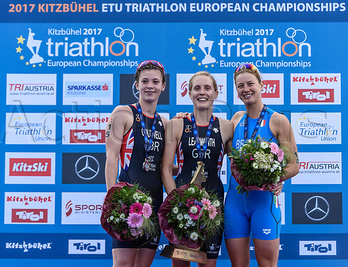 16th June 2017, Kitzbuehel, Austria; European Triathlon Championships;   Sophie Coldwell Jessica Learmonth of Great Britain and Alice Betto of Italy during awards ceremony for the womens Elite competition