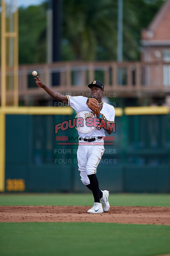 Bradenton Marauders shortstop Oneil Cruz (13) throws to first base during a Florida State League game against the Charlotte Stone Crabs on April 10, 2019 at LECOM Park in Bradenton, Florida.  Bradenton defeated Charlotte 2-1.  (Mike Janes/Four Seam Images)