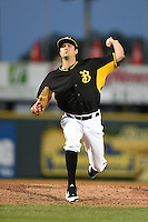 Bradenton Marauders pitcher Thomas Harlan (19) delivers a pitch during a game against the Palm Beach Cardinals on April 9, 2014 at McKechnie Field in Bradenton, Florida.  Palm Beach defeated Bradenton 3-1.  (Mike Janes/Four Seam Images)
