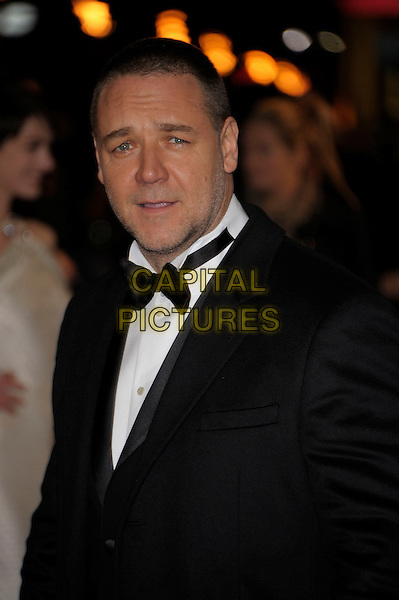 Russell Crowe.'Les Miserables' world film premiere Odeon & Empire cinemas, Leicester Square, London, England..5th December 2012.half length lack tuxedo white shirt bow tie  stubble facial hair mouth open.CAP/PL.©Phil Loftus/Capital Pictures.