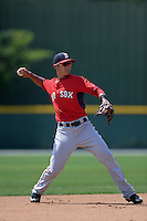 Boston Red Sox Javier Guerra (19) during a minor league spring training game against the Baltimore Orioles on March 18, 2015 at Buck O'Neil Complex in Sarasota, Florida.  (Mike Janes/Four Seam Images)