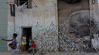 wall painting, street scene in Havana, Cuba