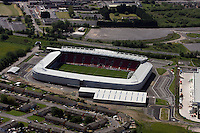 Aerial view of Parc Y Scarlets stadium home ground of Llanelli Scarlets RFC