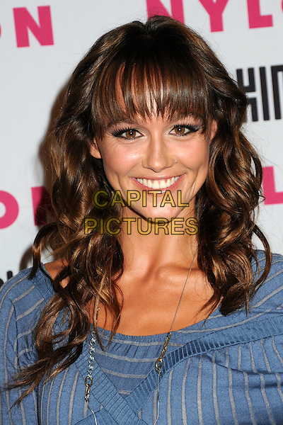 SHARNI VINSON.Nylon Magazine's Young Hollywood Party held at the Roosevelt Hotel's Tropicana Bar, Hollywood, California, USA..May 12th, 2010.headshot portrait fringe bangs smiling blue pinstripe grey gray.CAP/ADM/BP.©Byron Purvis/AdMedia/Capital Pictures.