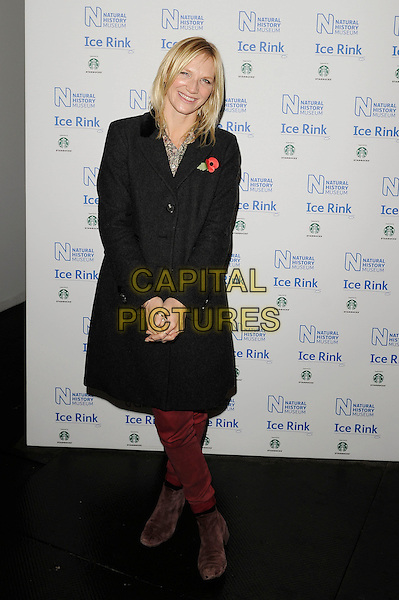 Jo Whiley .attending the launch of the Natural History Museum Ice Rink at Natural History Museum in London, England, UK, November 1st, 2012..full length grey gray coat  red burgundy jeans brown boots .CAP/MAR.© Martin Harris/Capital Pictures.