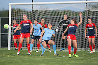 Piscataway, NJ - Sunday April 24, 2016: Players from both Sky Blue FC and the Washington Spirit jockey for position on a corner. The Washington Spirit defeated Sky Blue FC 2-1 during a National Women's Soccer League (NWSL) match at Yurcak Field.