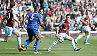 Burnley's James Tarkowski look stop take on Leicester City's Wes Morgan<br /> <br /> Photographer Rich Linley/CameraSport<br /> <br /> The Premier League - Burnley v Leicester City - Saturday 14th April 2018 - Turf Moor - Burnley<br /> <br /> World Copyright &copy; 2018 CameraSport. All rights reserved. 43 Linden Ave. Countesthorpe. Leicester. England. LE8 5PG - Tel: +44 (0) 116 277 4147 - admin@camerasport.com - www.camerasport.com