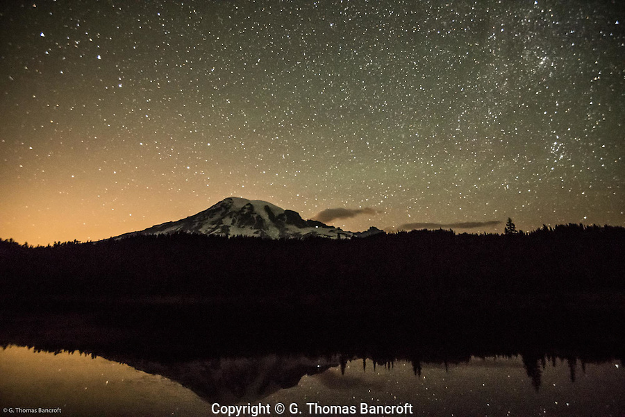 Reflection of Mt Rainier in Reflection Lake and the Big Dipper on lest of Mt Rainier.