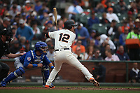 SAN FRANCISCO, CA - AUGUST 9:  Joe Panik #12 of the San Francisco Giants bats against the Chicago Cubs during the game at AT&T Park on Wednesday, August 9, 2017 in San Francisco, California. (Photo by Brad Mangin)