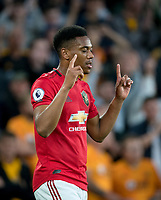 Anthony Martial of Man Utd celebrates his goal during the Premier League match between Wolverhampton Wanderers and Manchester United at Molineux, Wolverhampton, England on 19 August 2019. Photo by Andy Rowland.