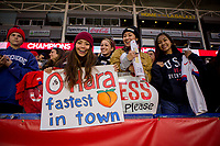 CARSON, CA - FEBRUARY 9: Fans of the of the United States celebrating during a game between Canada and USWNT at Dignity Health Sports Park on February 9, 2020 in Carson, California.