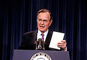 "United States President-elect George H.W. Bush announces he has named retired Admiral James D. Watkins as Secretary of Energy and former Secretary of Education William J. Bennett to the newly created position of ""Drug Czar"" to coordinate the Federal Government's war on drugs, in Washington, D.C. on January 12, 1989.<br />