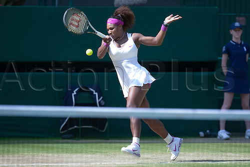 05.07.2012. The All England Lawn Tennis and Croquet Club. London, England. Serena Williams of United States in action against Victoria Azarenka of Belarus during ladies semi finals at Wimbledon Tennis Championships at The All England Lawn Tennis and Croquet Club. London, England, UK