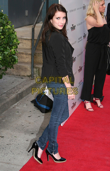 """EMMA ROBERTS .New York Screening of """"Inglourious Basterds"""" held at the SVA Theatre, New York, NY, USA, .August 17th 2009..full length black jacket jeans  shoes blazer tux tuxedo zip zip up back over shoulder.CAP/LNC/TOM.©LNC/Capital Pictures."""
