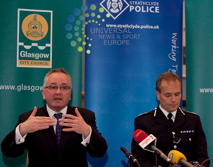 Glasgow city councillor Gordan Matheson and Stephen House, chief constable of Strathclyde, announce a new multi-agency group to tackle Glasgow's booze culture. Its focus will be on enforcement and defending communities from anti-social drinking in the streets, houses, pubs, or parks. Picture: Johnny Mclauchlan Universal News and Sport (Europe) 29/06/2011