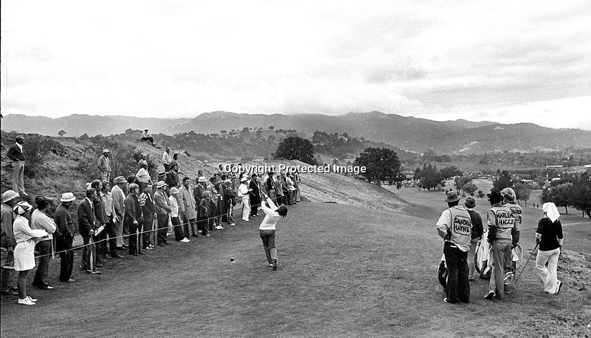 Sandra Hayne tees off the 18th hole at Round Hill Country Club in Alamo, Ca during the LPGA's Sarah Coventry Invitational golf tournament 1971. photo by Ron Riesterer.