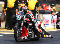 May 19, 2014; Commerce, GA, USA; NHRA pro stock motorcycle rider Eddie Krawiec during the Southern Nationals at Atlanta Dragway. Mandatory Credit: Mark J. Rebilas-USA TODAY Sports
