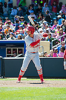 Greg Garcia (5) of the Memphis Redbirds at bat against the Omaha Storm Chasers in Pacific Coast League action at Werner Park on April 22, 2015 in Papillion, Nebraska.  (Stephen Smith/Four Seam Images)