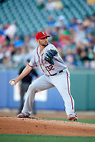 Syracuse Chiefs starting pitcher David Goforth (32) delivers a pitch during a game against the Buffalo Bisons on July 6, 2018 at Coca-Cola Field in Buffalo, New York.  Buffalo defeated Syracuse 6-4.  (Mike Janes/Four Seam Images)