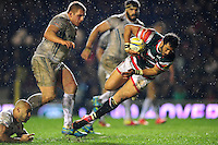 Maxime Mermoz of Leicester Tigers takes on the Exeter Chiefs defence. Aviva Premiership match, between Leicester Tigers and Exeter Chiefs on March 3, 2017 at Welford Road in Leicester, England. Photo by: Patrick Khachfe / JMP