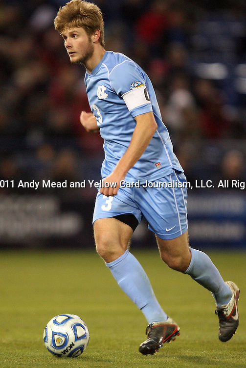 09 December 2011: North Carolina's Kirk Urso. The University of California Los Angeles Bruins played the University of North Carolina Tar Heels to a 2-2 tie after overtime, with the Tar Heels advancing with a 3-1 win in the penalty kick shootout at Regions Park in Hoover, Alabama in an NCAA Division I Men's Soccer College Cup semifinal game.
